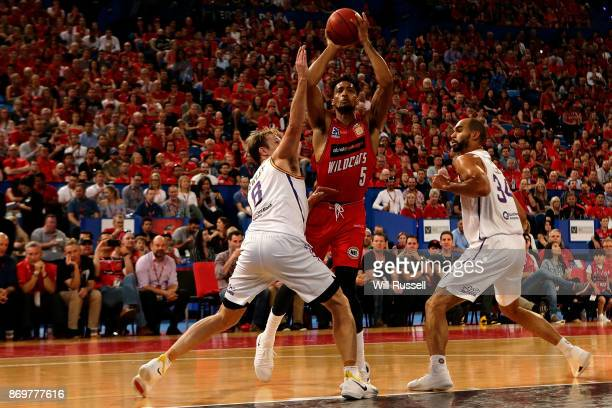 JeanPierre Tokoto of the Wildcats shoots during the round five NBL match between the Perth Wildcats and the Sydney Kings at Perth Arena on November 3...