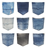 Jeans back pockets isolated