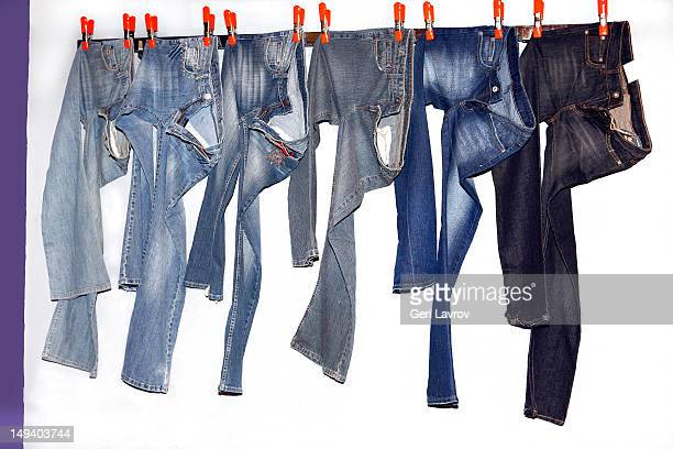 Jeans hanging on string