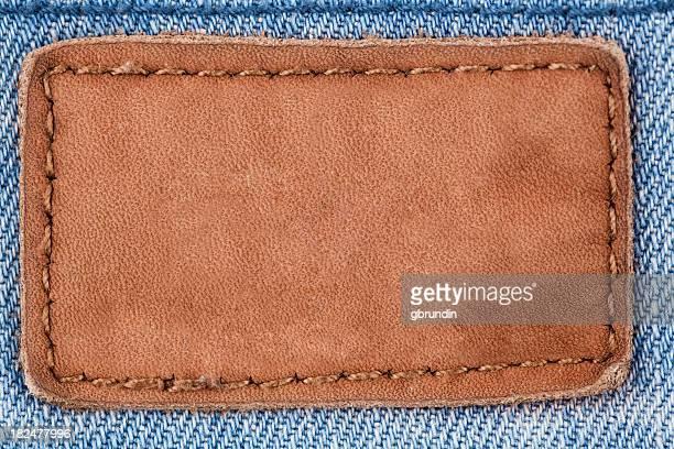 Jeans patch en cuir