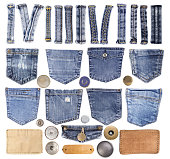 Jeans pockets, loops, buttons and other elements isolated on white background