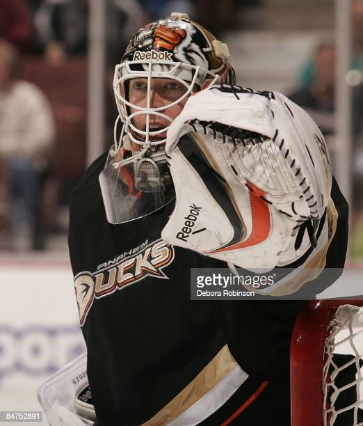 JeanSebastien Giguere of the Anaheim Ducks during a break in the action during a game against the Calgary Flames on February 11 2009 at Honda Center...