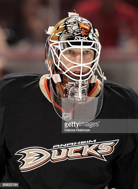 JeanSebastien Giguere of the Anaheim Ducks during warmups before the game against the St Louis Blues on November 5 2008 at Honda Center in Anaheim...