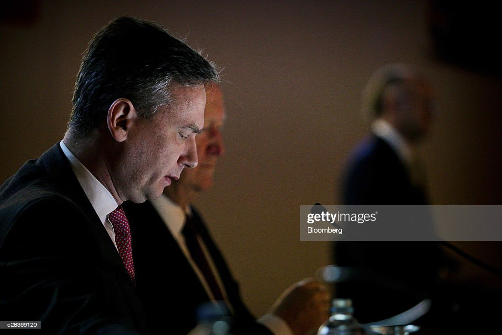 Jean-Sebastien Jacques, incoming chief executive officer of Rio Tinto Group, left, and Chris Lynch, chief financial officer, attend the company's annual general meeting in Brisbane, Australia, on Thursday, May 5, 2016. Rio Tinto Group, the second-largest mining company, reaffirmed its goal to raise annual iron ore output in Australia to 360 million metric tons amid forecast growth demand in Asia. Photographer: Patrick Hamilton/Bloomberg via Getty Images