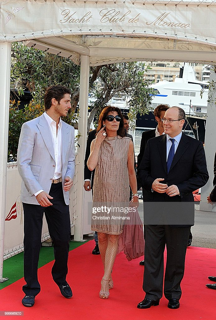 Jean-Thierry Bessin, Princess Caroline of Hanover and HSH Prince Albert II of Monaco attend Graffiti Au Yacht Club De Monaco, paint exhibition, on May 19, 2010 in Monaco, Monaco.