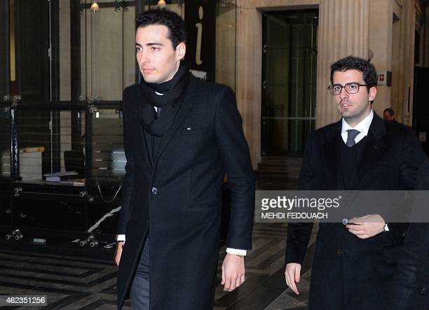 JeanVictor and Nicolas Bettencourt Meyers grandsons of L'Oreal heiress Liliane Bettencourt arrive at the Court House in Bordeaux on January 27 to...