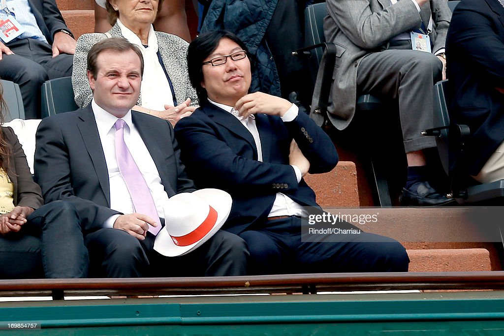 Jean-Vincent Place (R) from Political party 'Europe Ecologie les Verts (EELV)' attends Roland Garros Tennis French Open 2013 - Day 9 on June 3, 2013 in Paris, France.