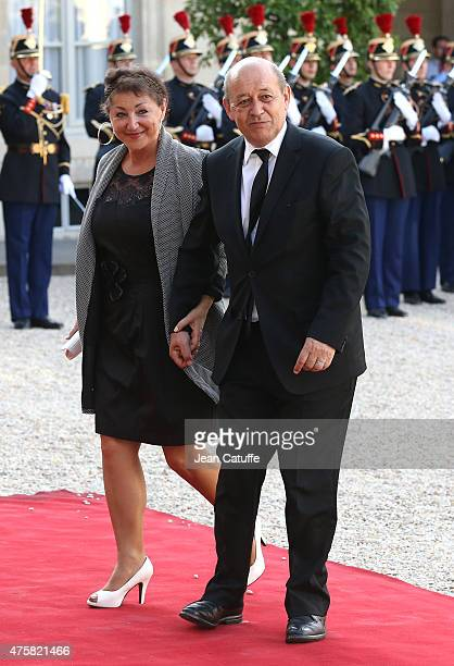 JeanYves Le Drian and his wife Maria Vadillo arrive at the State Dinner offered by French President Francois Hollande in honor to the King and Queen...