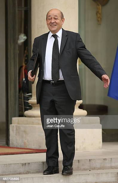JeanYves Le Drian french Minister of Defence attends the first 'Conseil Des Ministres' of France new government at Elysee Palace on April 4 2014 in...
