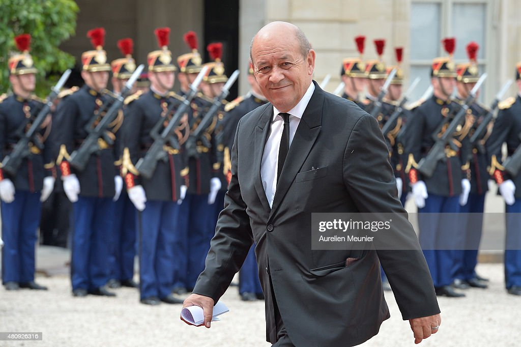 <a gi-track='captionPersonalityLinkClicked' href=/galleries/search?phrase=Jean-Yves+Le+Drian&family=editorial&specificpeople=2122785 ng-click='$event.stopPropagation()'>Jean-Yves Le Drian</a>, French Minister of Defense arrives for a strategic meeting with French President Francois Hollande and Mexican President Enrique Pena Nieto at Elysee Palace on July 16, 2015 in Paris, France. They will talk about the universel abolition of the death penalty and their cooperation to maintain world peace.