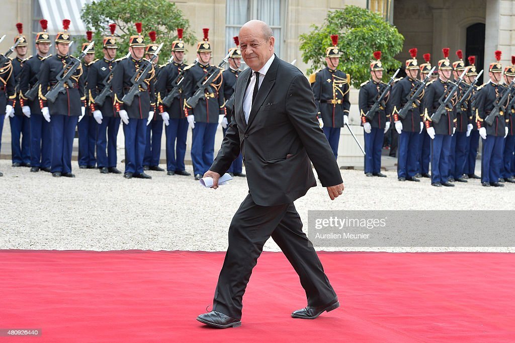Jean-Yves Le Drian, French Minister of Defense arrives for a strategic meeting with French President Francois Hollande and Mexican President Enrique Pena Nieto at Elysee Palace on July 16, 2015 in Paris, France. They will talk about the universel abolition of the death penalty and their cooperation to maintain world peace.