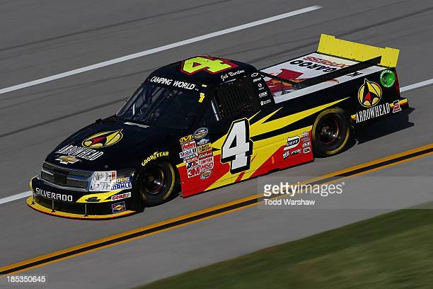 Jeb Burton driver of the Arrowhead / Kangaroo Express Dodge during practice for the Camping World Truck Series Fred's 250 at Talladega Superspeedway...