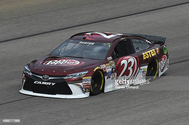 Jeb Burton driver of the Dr Pepper/Estes Toyota practices for the NASCAR Sprint Cup Series AAA Texas 500 at Texas Motor Speedway on November 6 2015...