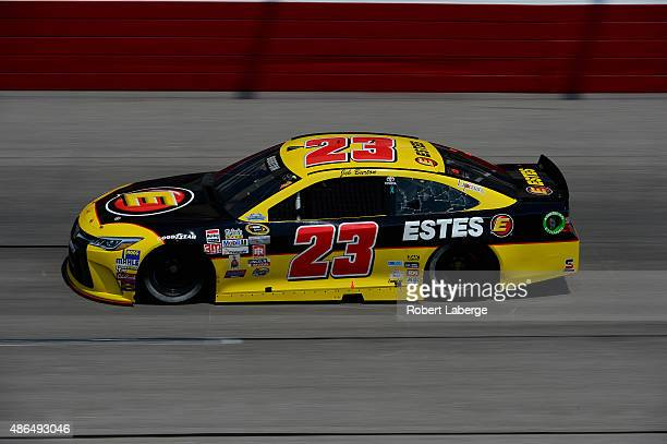 Jeb Burton driver of the Estes Toyota practices for the NASCAR Sprint Cup Series Bojangles' Southern 500 at Darlington Raceway on September 4 2015 in...