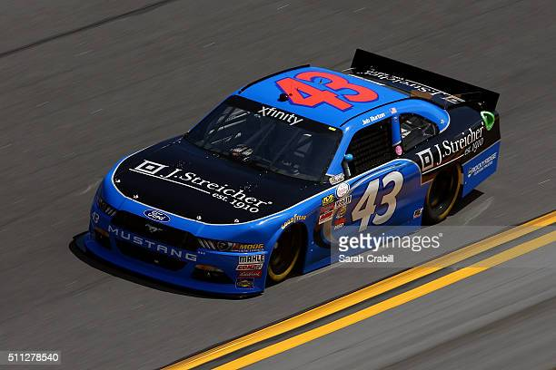 Jeb Burton driver of the J Streicher Ford practices for the NASCAR XFINITY Series PowerShares QQQ 300 at Daytona International Speedway on February...