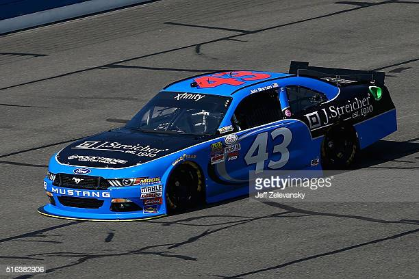 Jeb Burton driver of the J Streicher Ford practices for the NASCAR Xfinity Series TreatMyClotcom 300 at Auto Club Speedway on March 18 2016 in...