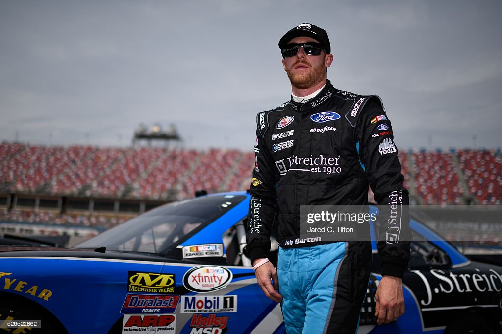 Jeb Burton, driver of the #43 J. Streicher Ford, stands on the grid during qualifying for the NASCAR XFINITY Series Sparks Energy 300 at Talladega Superspeedway on April 30, 2016 in Talladega, Alabama.