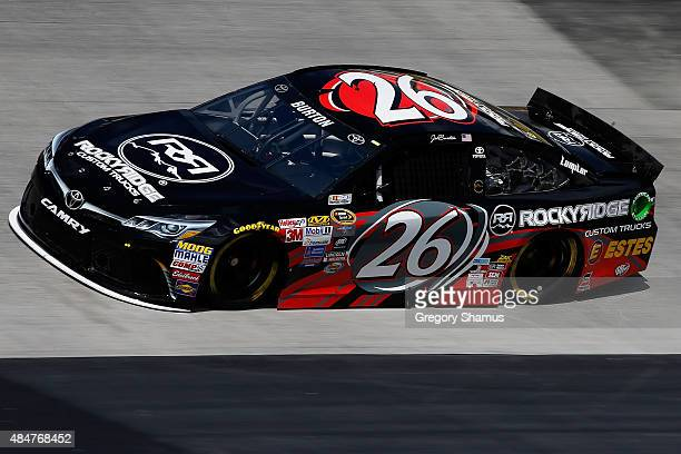Jeb Burton driver of the Rocky Ridge/Estes Toyota practices for the NASCAR Sprint Cup Series Irwin Tools Night Race at Bristol Motor Speedway on...