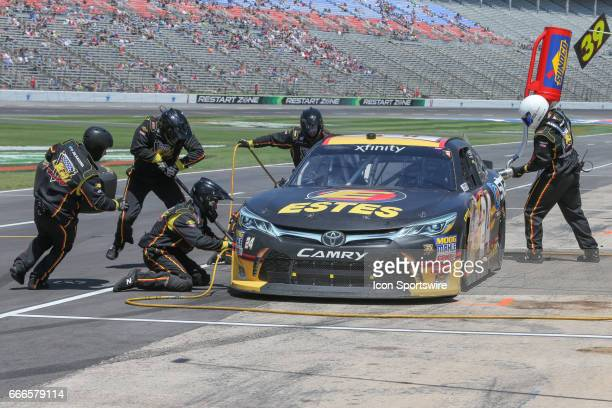 Jeb Burton makes a pit stop during the My Bariatric Solutions NASCAR Xfinity Series race on April 8 2017 at Texas Motor Speedway in Fort Worth TX