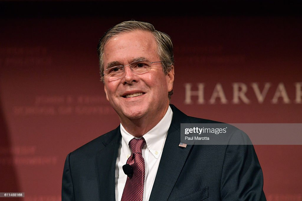 Jeb Bush delivers the Edwin L. Godkin Lecture at Harvard University, co-moderated by Roland Fryer and Paul Peterson on September 29, 2016 in Cambridge, Massachusetts. Jeb Bush is a visiting Fellow at Harvard University in the fall of 2016 and is part of the Program on Education Policy and Governance at the Kennedy Schools Taubman Center for State and Local Government.