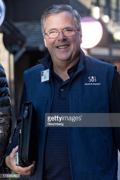 Jeb Bush former governor of Florida arrives for a morning session during the Allen Co Media and Technology Conference in Sun Valley Idaho US on...
