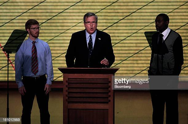 Jeb Bush former governor of Florida center speaks at the Republican National Convention in Tampa Florida US on Thursday Aug 30 2012 Republican...