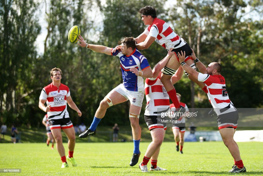 Jed Holloway of the Rams and Darcy Swain of the Vikings jump for the ball at a restart during the round nine NRC match between the Rams and Canberra at TG Milner Oval on October 29, 2017 in Sydney, Australia.