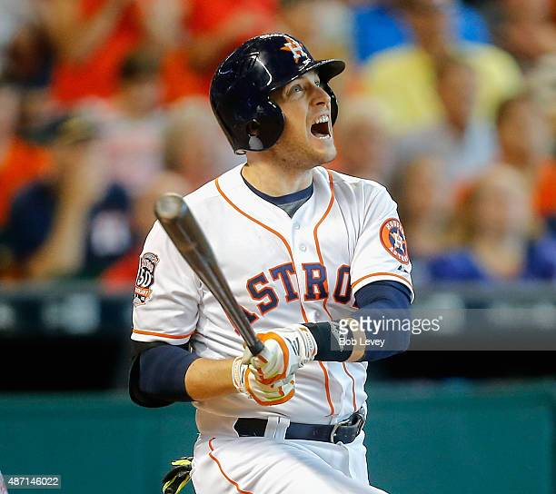 Jed Lowrie of the Houston Astros hits a grand slam in the seventh inning against the Minnesota Twins at Minute Maid Park on September 6 2015 in...