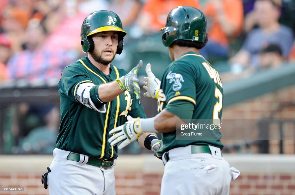 Jed Lowrie #8 of the Oakland Athletics celebrates with Khris Davis #2 after hitting a two-run home run in the first inning against the Baltimore Orioles at Oriole Park at Camden Yards on August 22, 2017 in Baltimore, Maryland.