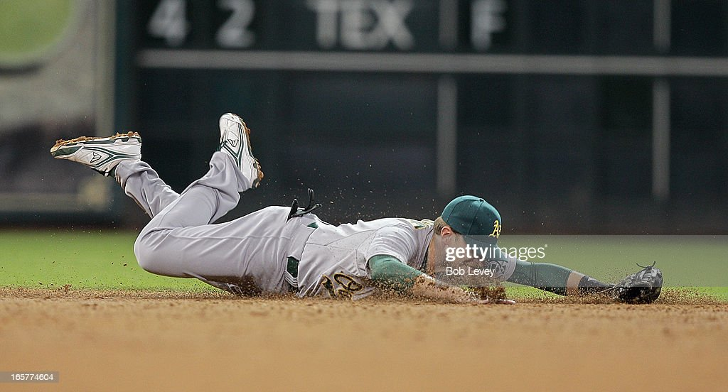 <a gi-track='captionPersonalityLinkClicked' href=/galleries/search?phrase=Jed+Lowrie&family=editorial&specificpeople=4949369 ng-click='$event.stopPropagation()'>Jed Lowrie</a> #8 of the Oakland Athletics dives but comes up short on a line drive up the middle by Jose Altuve #27 of the Houston Astros in the third inning at Minute Maid Park on April 5, 2013 in Houston, Texas.