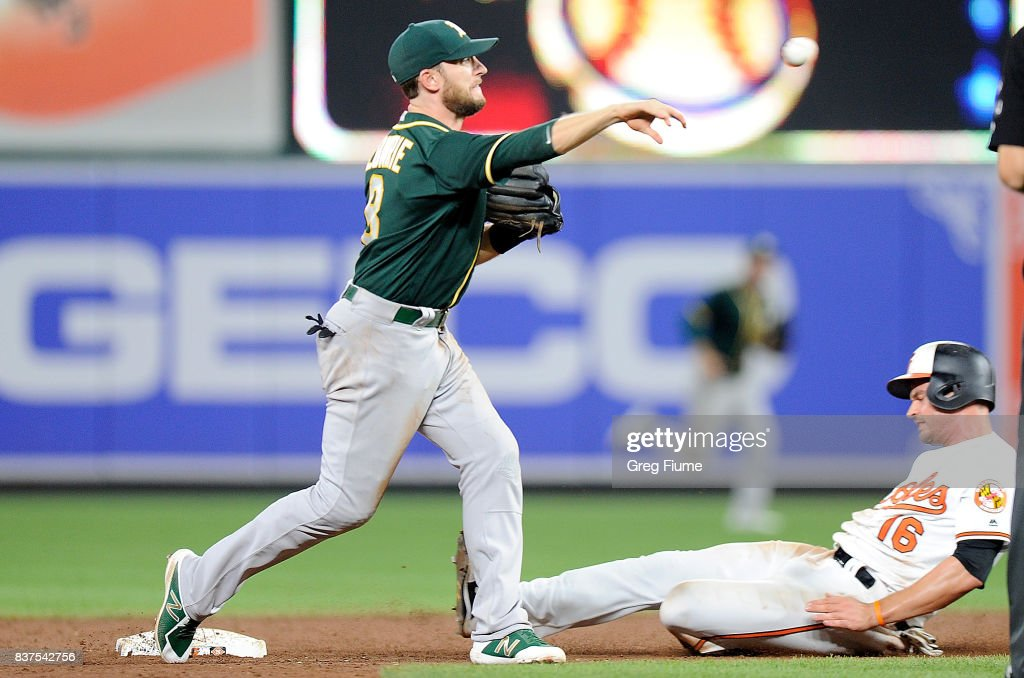 Jed Lowrie #8 of the Oakland Athletics forces out Trey Mancini #16 of the Baltimore Orioles to start a double play in the ninth inning at Oriole Park at Camden Yards on August 22, 2017 in Baltimore, Maryland.