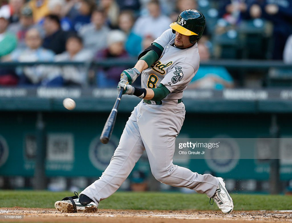 <a gi-track='captionPersonalityLinkClicked' href=/galleries/search?phrase=Jed+Lowrie&family=editorial&specificpeople=4949369 ng-click='$event.stopPropagation()'>Jed Lowrie</a> #8 of the Oakland Athletics hits a home run in the fourth inning against the Seattle Mariners at Safeco Field on June 21, 2013 in Seattle, Washington. The Athletics defeated the Mariners 6-3.