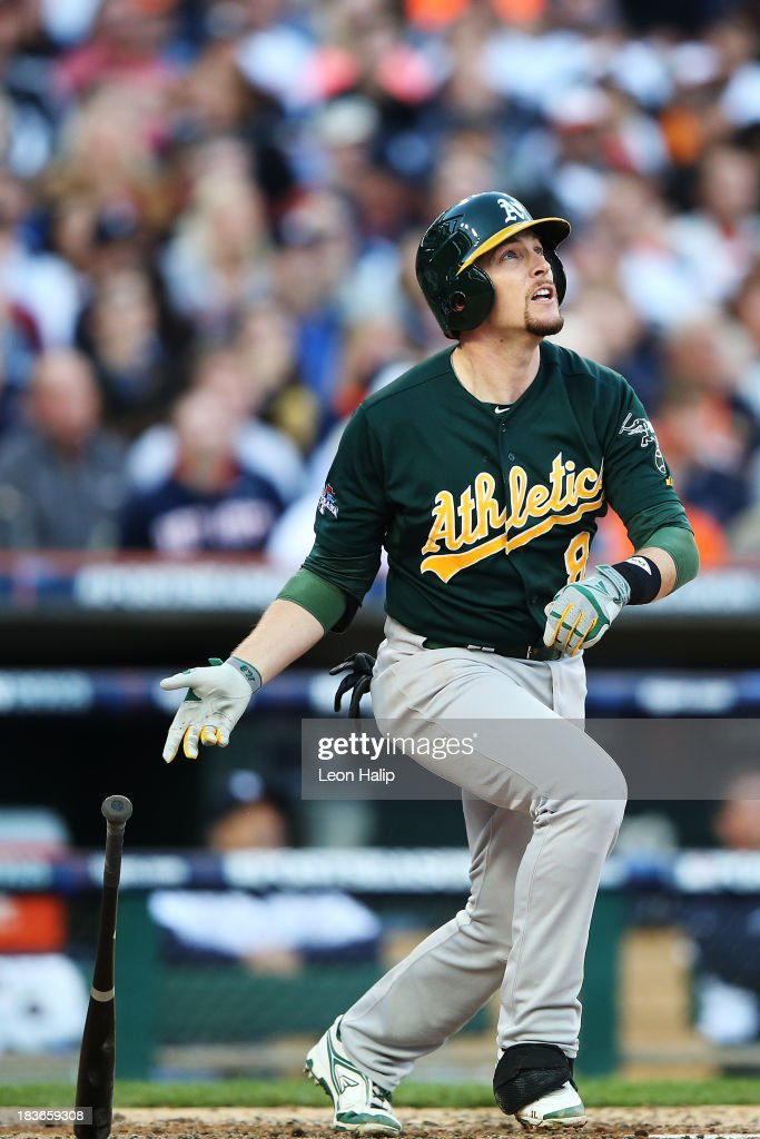 Jed Lowrie #8 of the Oakland Athletics hits a two run home run in the fifth inning against the Detroit Tigers during Game Four of the American League Division Series at Comerica Park on October 8, 2013 in Detroit, Michigan.