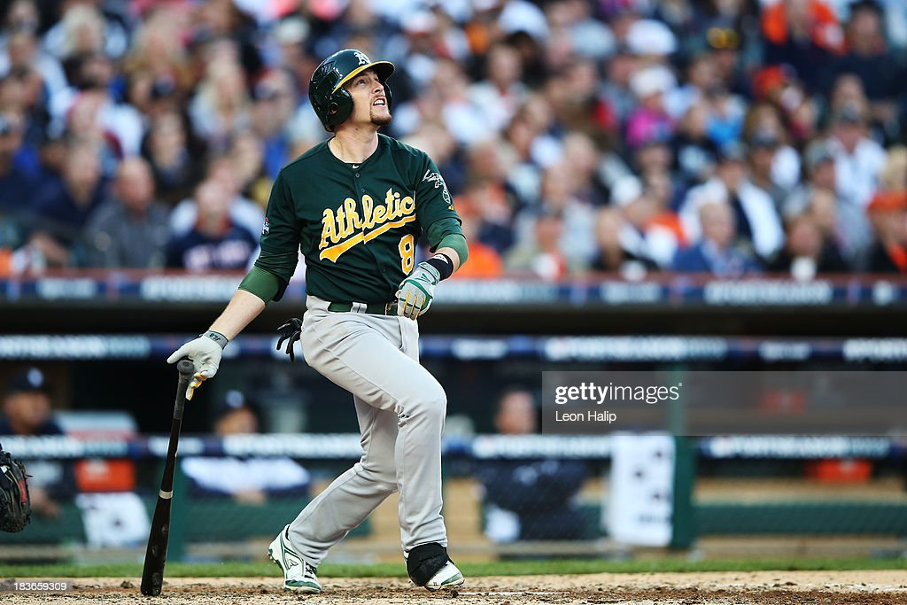 <a gi-track='captionPersonalityLinkClicked' href=/galleries/search?phrase=Jed+Lowrie&family=editorial&specificpeople=4949369 ng-click='$event.stopPropagation()'>Jed Lowrie</a> #8 of the Oakland Athletics hits a two run home run in the fifth inning against the Detroit Tigers during Game Four of the American League Division Series at Comerica Park on October 8, 2013 in Detroit, Michigan.