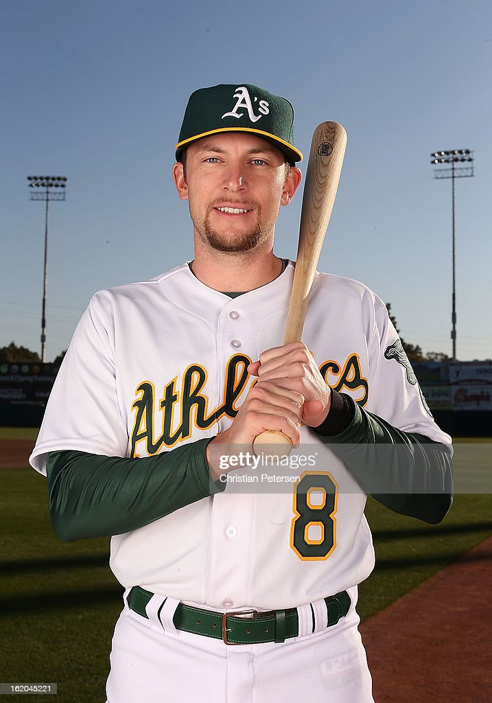 <a gi-track='captionPersonalityLinkClicked' href=/galleries/search?phrase=Jed+Lowrie&family=editorial&specificpeople=4949369 ng-click='$event.stopPropagation()'>Jed Lowrie</a> #8 of the Oakland Athletics poses for a portrait during the spring training photo day at Phoenix Municipal Stadium on February 18, 2013 in Phoenix, Arizona.