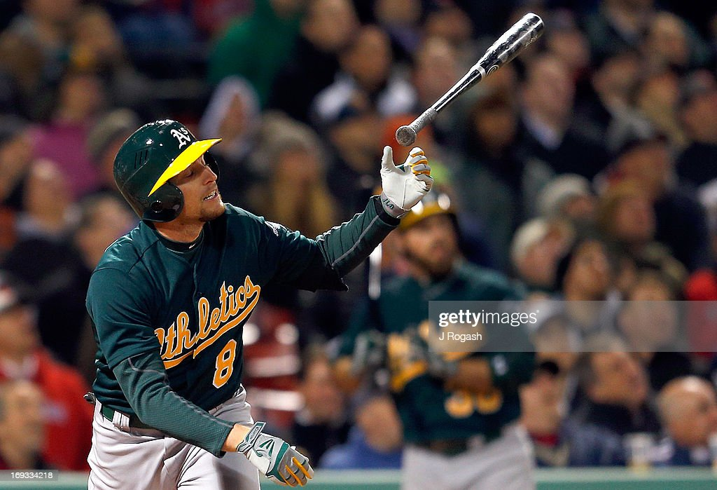 <a gi-track='captionPersonalityLinkClicked' href=/galleries/search?phrase=Jed+Lowrie&family=editorial&specificpeople=4949369 ng-click='$event.stopPropagation()'>Jed Lowrie</a> #8 of the Oakland Athletics react against the Boston Red Sox at Fenway Park on April 22, 2013 in Boston, Massachusetts.