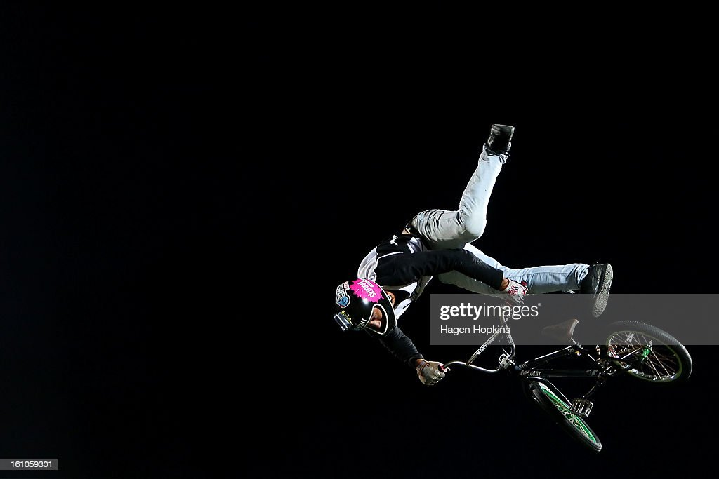 Jed Mildon performs a BMX trick during Nitro Circus Live at Westpac Stadium on February 9, 2013 in Wellington, New Zealand.