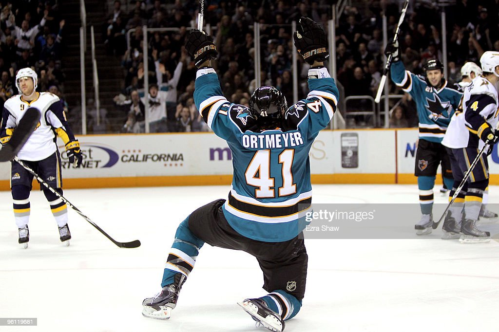Jed Ortmeyer #41 of the San Jose Sharks celebrates after he made a goal on the Buffalo Sabres to give the Sharks a 4-2 lead in the third period at HP Pavilion on January 23, 2010 in San Jose, California.