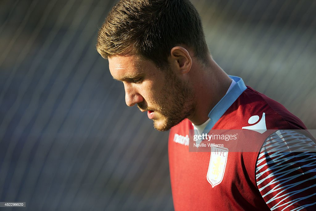 Jed Steer of Aston Villa warms up before the pre season friendly match between Mansfield Town and Aston Villa at the One Call Stadium on July 17, 2014 in Mansfield, England.