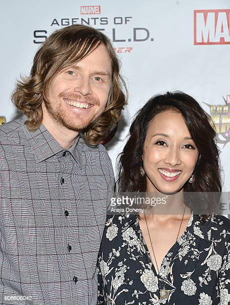 Jed Whedon and Maurissa Tancharoen attend the premiere of ABC's 'Agents Of SHIELD' Season 4 at Pacific Theatre at The Grove on September 19 2016 in...