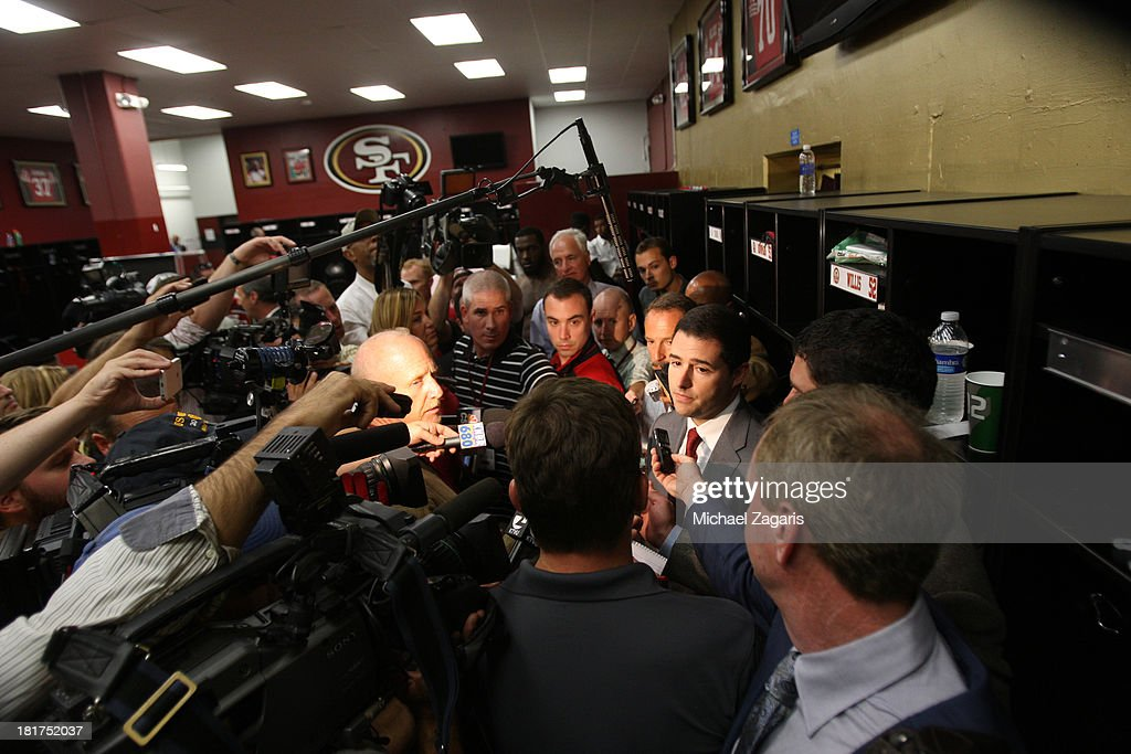 CEO Jed York of the San Francisco 49ers address the media about Aldon Smith #99 in the locker room following the game against the Indianapolis Colts at Candlestick Park on September 22, 2013 in San Francisco, California. The Colts defeated the 49ers 27-7.
