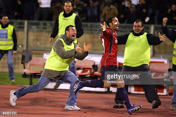 Jeda Of Cagliari celebrates the goal during the Serie A match between Cagliari and Napoli at Stadio Sant'Elia on December 12 2009 in Cagliari Italy