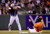 Jedd Gyorko of the San Diego Padres gets his throw off to first base over the top of Marlon Byrd of the San Francisco Giants in the top of the second...