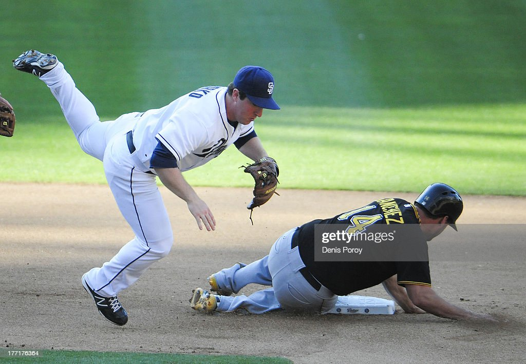 <a gi-track='captionPersonalityLinkClicked' href=/galleries/search?phrase=Jedd+Gyorko&family=editorial&specificpeople=8830434 ng-click='$event.stopPropagation()'>Jedd Gyorko</a> #9 of the San Diego Padres jumps over <a gi-track='captionPersonalityLinkClicked' href=/galleries/search?phrase=Gaby+Sanchez&family=editorial&specificpeople=4945789 ng-click='$event.stopPropagation()'>Gaby Sanchez</a> #14 of the Pittsburgh Pirates as he tries to turn a double play during the seventh inning of a baseball game at Petco Park on August 21, 2013 in San Diego, California.