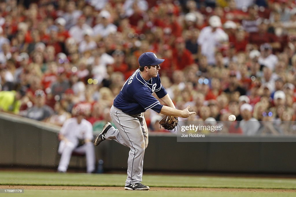 <a gi-track='captionPersonalityLinkClicked' href=/galleries/search?phrase=Jedd+Gyorko&family=editorial&specificpeople=8830434 ng-click='$event.stopPropagation()'>Jedd Gyorko</a> #9 of the San Diego Padres makes a play at second base against the Cincinnati Reds during the game at Great American Ball Park on August 10, 2013 in Cincinnati, Ohio. The Padres defeated the Reds 3-1.