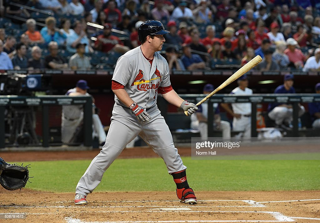 Jedd Gyorko #3 of the St Louis Cardinals gets ready in the batters box against the Arizona Diamondbacks on April 28, 2016 in Phoenix, Arizona.
