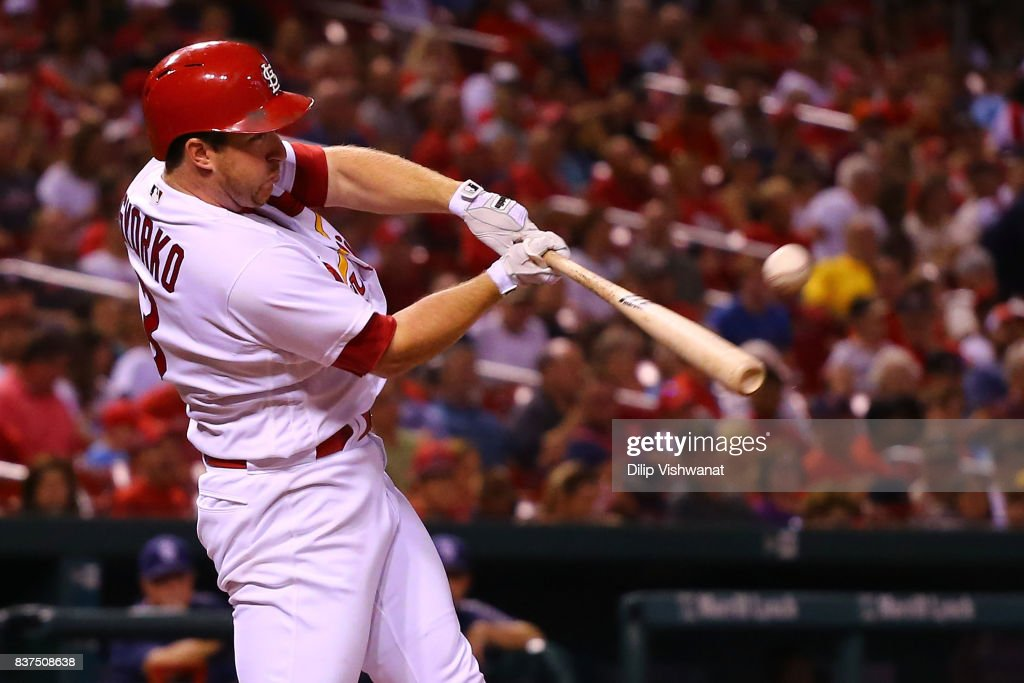 Jedd Gyorko #3 of the St. Louis Cardinals hits a two-run home run against the San Diego Padres in the fourth inning at Busch Stadium on August 22, 2017 in St. Louis, Missouri.