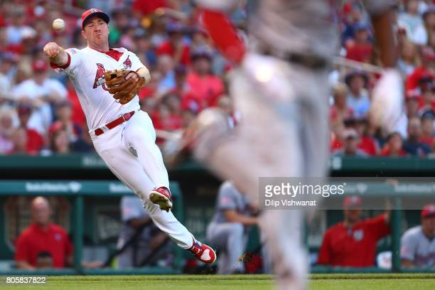 Jedd Gyorko of the St Louis Cardinals throws to first base against the Washington Nationals in the first inning at Busch Stadium on July 2 2017 in St...