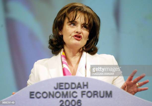 Cherie Blair wife of British Prime Minister Tony Blair speaks during the threeday Jeddah Economic Forum 12 February 2006 in the Red Sea city of...
