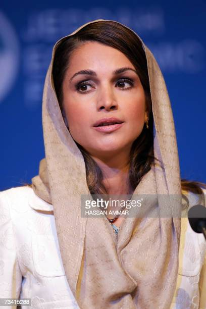 Queen Rania alAbdullah of Jordan speaks during the Jeddah Economic Forum in the Red Sea city of Jeddah 25 February 2007 The annual event which bills...